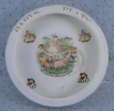 "ANTIQUE BABYS PLATE ""BABY BUNTING"" by TRENLE CHINA CO. LIVERPOOL, ENGLAND"