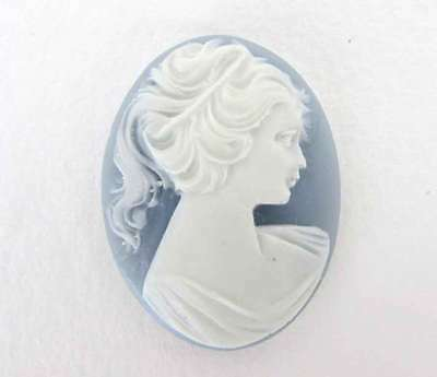 Vintage Plastic Cameo White Lady Grey Cabochon Woman Profile Head 40x30mm