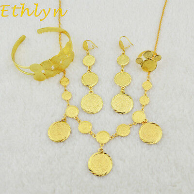 Ethlyn Gold Plated Chain Coins Fashion Jewelry Set Necklace-Earring-Bangle-Ring