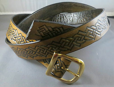 """1 1/4"""" Brown Antiqued Belt with Celtic Knots, will fit waists up to 43"""""""