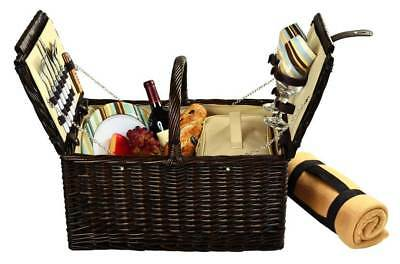 Picnic Basket for Two with Fleece Blanket [ID 3096570]