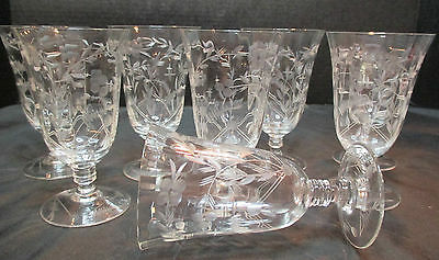 8 Etched Crystal Footed Tumblers Stunning Rare Design