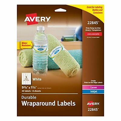 Durable Waterproof Wraparound Water Bottle Labels 1-1/4 x 9-3/4 Inches