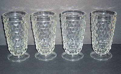 VNT 60's Indiana Whitehall Stacked Cube Clear Footed Iced Tea Tumblers set of 4