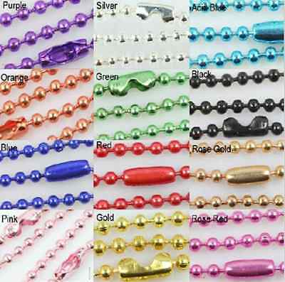 Wholesale Lots 12 COLOR 10pcs Ball Metal 2.4mm Beads Chains Necklace Finding