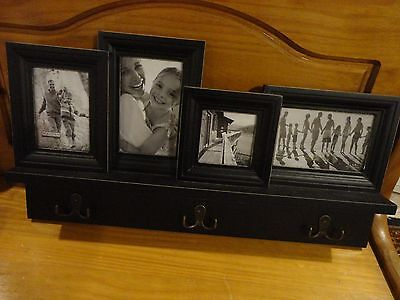Black Wood Wall Hanging 4 Picture Frame With Key / Towel Hanger  21.5 X 11.5""