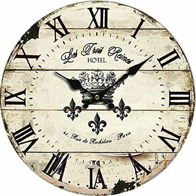 """10"""" Large Wall Clocks Indoor/Outdoor Woden Decorative Vintage Rustic Shabby Chic"""