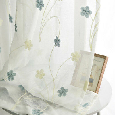 Pastoral Fresh Sheer Curtains Embroidery Tulle Home Valances White Drape 1 Panel