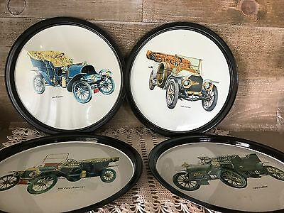 Round 1960s Vintage Metal Serving Trays Cadillac Peerless Franklin Model T