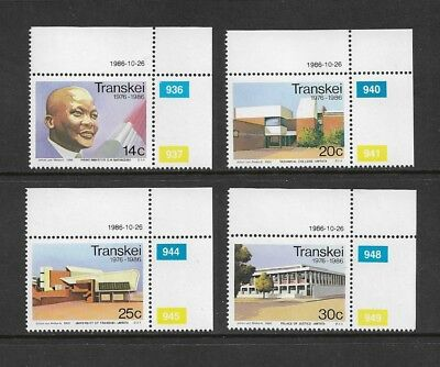 TRANSKEI - mint 1986 10th Anniversary Independence, No.1, set of 4, MNH MUH