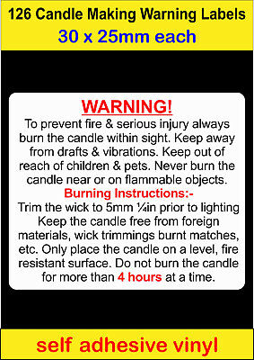 126 small Candle Making Safety Warning Labels self adhesive vinyl Stickers decal