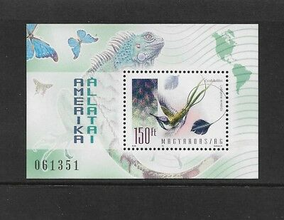 HUNGARY - mint 1998 American Animals, mini sheet, MNH MUH