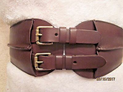 Ralph Lauren Women Genuine Leather  Wide Brown Belt, Made In  Italy, Size Med.