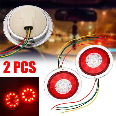 2pcs Round 19LED Truck Trailer Lorry Stop Turn Tail Brake Lights Side Marker