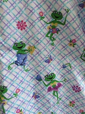 "Cute Frog Scrub Top Size 2X Hearts Flowers Butterflies 58"" Bust Purple Blue 2EX"