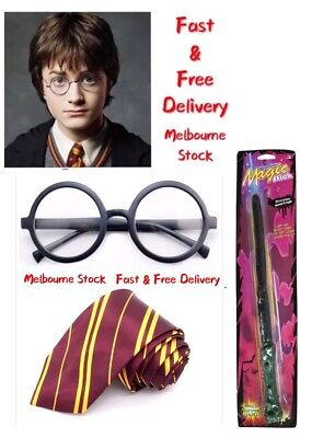Wizards Harry Potter Tie Wand Glasses For Fancy Dress School Uniform Book Week