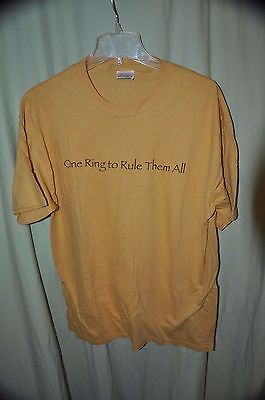 Men's T-Shirt Large Lord of the Rings Movie Trilogy Yellow One Ring to Rule them