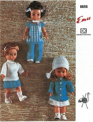 "COPY_Vintage Dolls clothes Knitting Pattern EMU# 6696 Doll 14"" H Chest 7.5"" 8Ply"