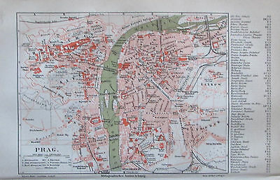 1889 PRAG Tschechien original antike Stadtplan Lithographie old city map