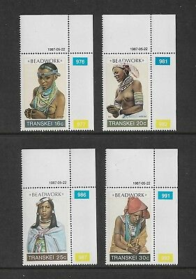 TRANSKEI - mint 1987 Beadwork, No.1, set of 4, MNH MUH