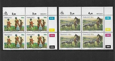 TRANSKEI - mint 1986 & 1987 Definitives, Xhosa Culture, blocks of 4, MNH MUH