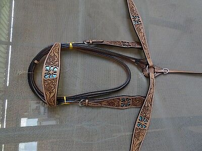 western Bridle and breastplate set ri125 london leather teal blue inlay