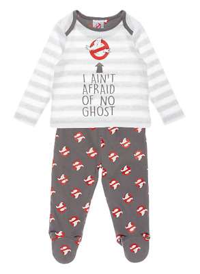 Baby Ghostbusters Pyjamas Pjs Set Grey Halloween Boys Girls Ghost Sleepwear