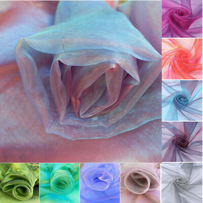 Per Metre Two Tone Organza Sheer Satin Soft Voile Tulle Fabric Wedding Curtain