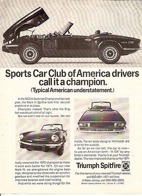 Triumph Spitfire Mark IV SCCA Champion Sports Car 1972 Vintage Advert