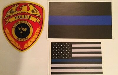 NYS NY Suffolk County Police InWindshield Decal &1Blue+1Flag B Skr **See Choice