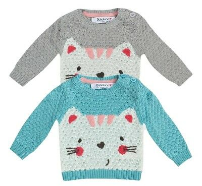 Babaluno Toddler Girls Kitten Jumper - Blue & Grey - Ages 12/18 - 18/24 Months