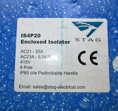 STAG IS4P20 4 Pole 20Amp IP65 New Disconnectors