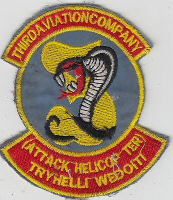US Army 3rd Aviation Company Vietnam Patch - Rattlers - UH-1 Huey
