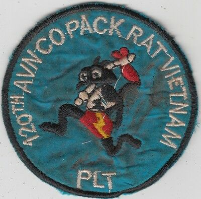 US Army 120th Aviation Company Vietnam Patch - 1st Platoon - Pack Rat's