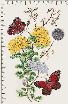 """1 x Waterslide ceramic decal Yellow flowers Butterfly Approx. 9"""" x 6""""  PD22a"""