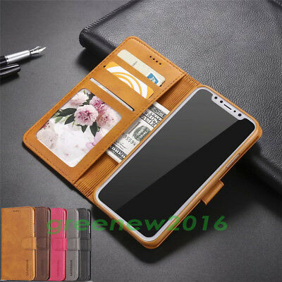 Magnetic Flip Wallet Case PU Leather Stand Cover For iPhone X XS Max XR 8 7 Plus