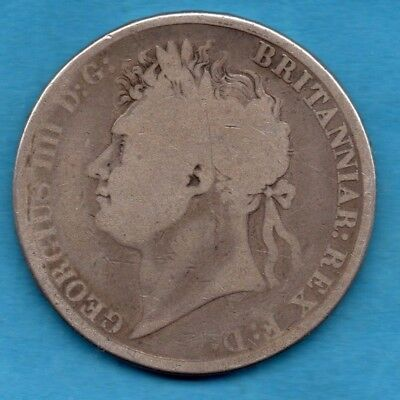 1821 Crown Silver Coin. King George Iv.   Five Shillings.  Poor Condition.