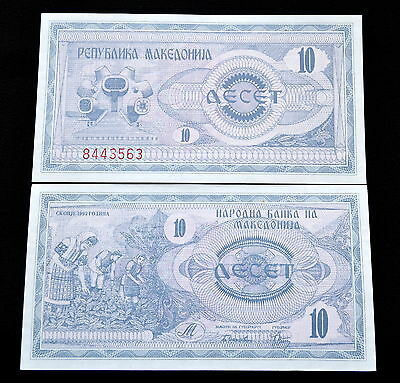 Mazedonien Macedonia 10 Denari 1992 P-1 UNC BANKNOTE CURRENCY