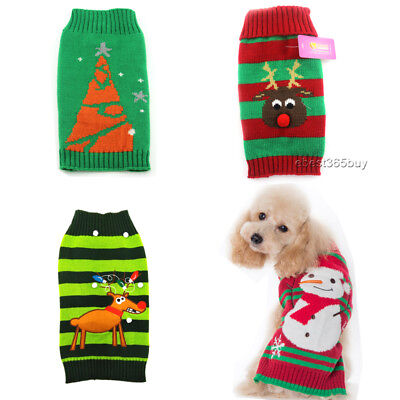 Christmas Puppy Sweater Knitted Dog Jumper Coat Pet Clothes Xmas Tree Reindeer