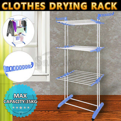Garment Hanger Foldable 6 Tiers Clothes Airer Indoor Laundry Drying Cloth Rack