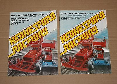 1988 Hednesford Brisca F1 programmes x 2, 10 April & 20 November
