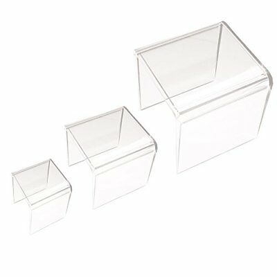 Clear Acrylic Riser Stand Set of Three 3-Inch 4-Inch 5-Inch Display Easels Home