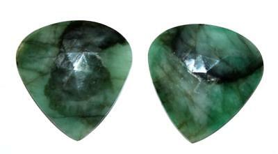 Memoria Natural Emerald Gemstone 37.5 Cts Heart 15X30 mm Fine Faceted Slice Pair