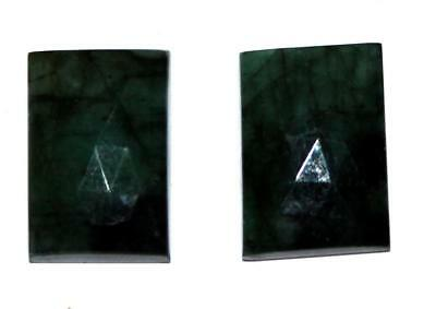 Memoria Fine Natural Emerald Gemstone 21.4 Cts Rectangle 15mm Faceted Slice Pair