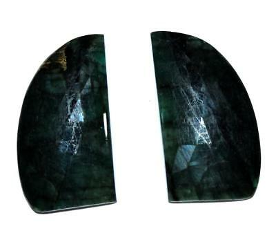 Memoria Natural Gemstone Emerald 21.4 Cts Free Form 15X30 mm Faceted Slice Pair