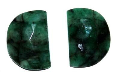 Memoria Natural Emerald Gemstone 25.7 Cts Half Moon 25X30 mm Faceted Slice Pair