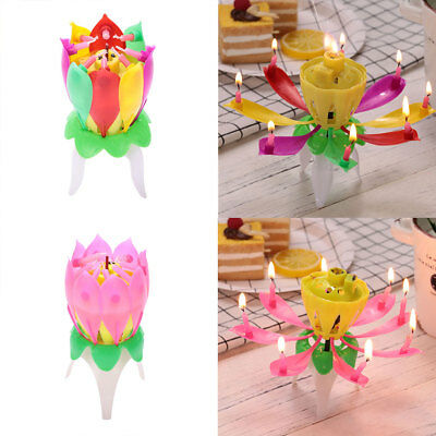 Lotus Flower Flor No Rotating Vela Cake Topper Birthday Party Supplies