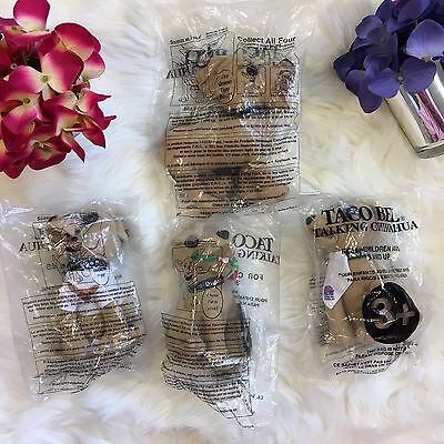 Vintage Lot 4 Taco Bell Collectible Talking Chihuahua Sealed Original D15