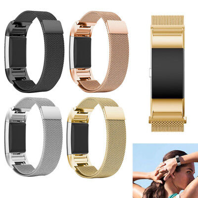 Metal Acero inoxidable Milanese Magnético Strap For FitBit Charge 2 Pulsera