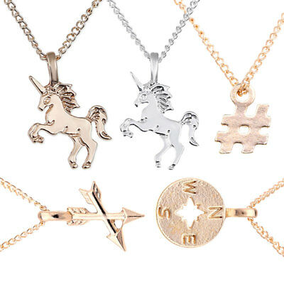 Fashion Charm Unicorn Pendants Rose Chains Collar Jewelry Navidad Regalo